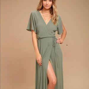 Lulus olive Green Wrap Dress- NWT, Size M